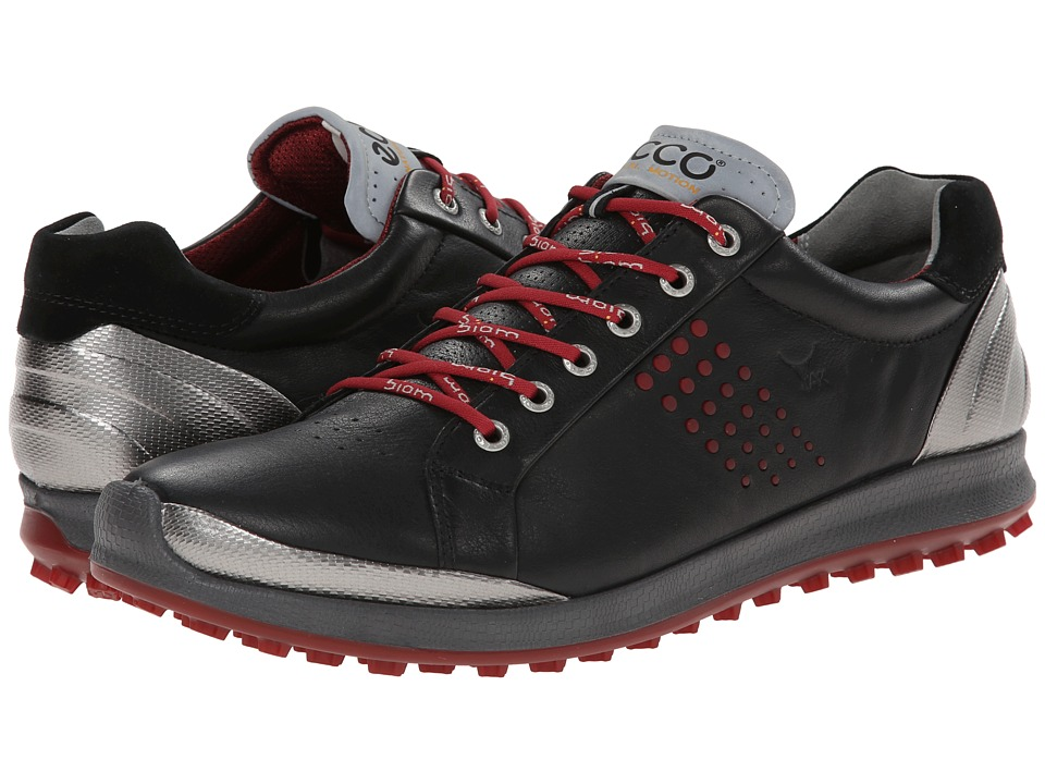 Ecco Golf - BIOM Hybrid 2 (Black/Brick) Men's Golf Shoes