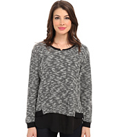 TWO by Vince Camuto - L/S Sweater Like Knit w/ Chiffon Piecing
