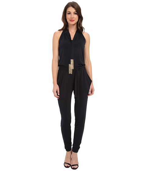 michael michael kors tie neck jumpsuit new navy shipped free at zappos. Black Bedroom Furniture Sets. Home Design Ideas