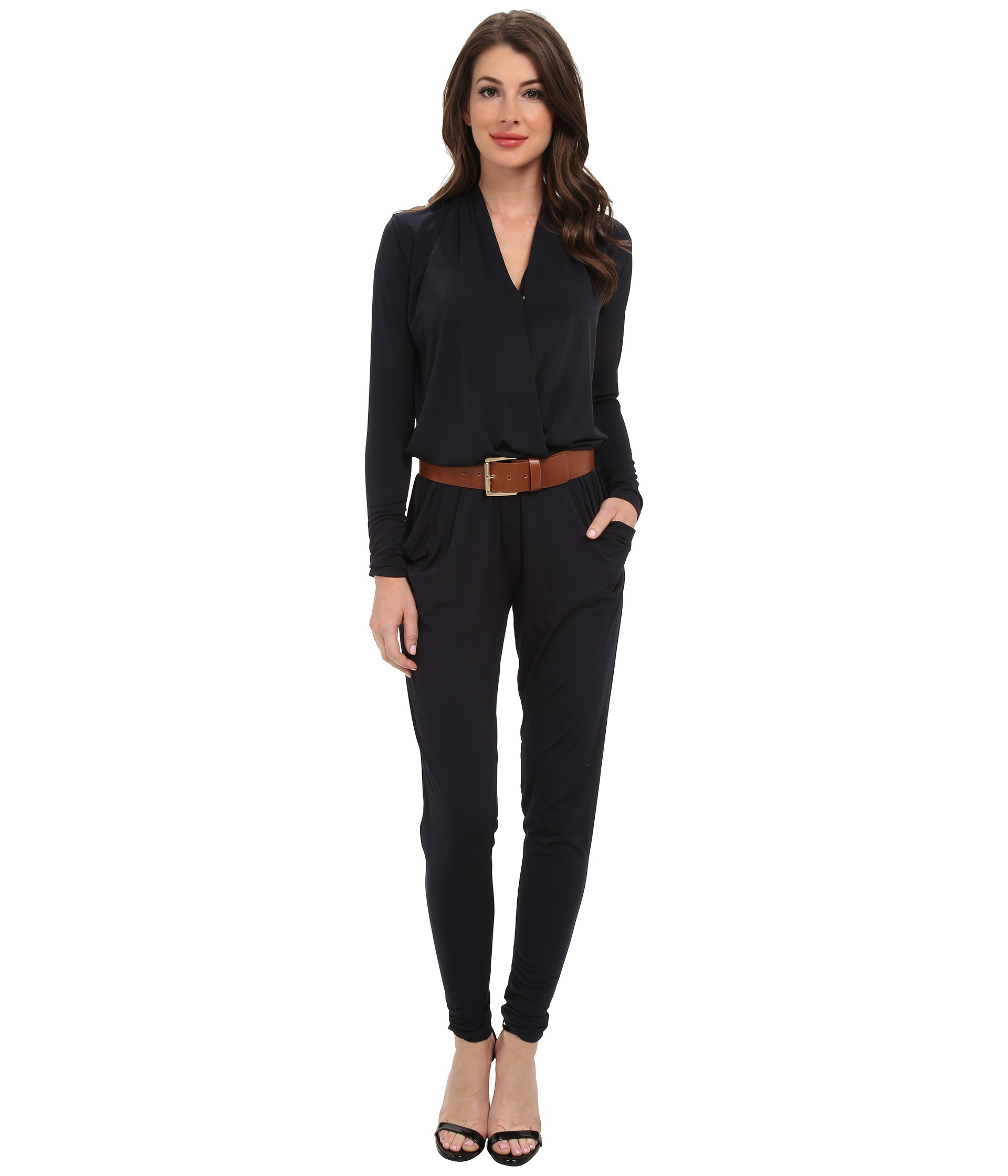michael michael kors l s belted jumpsuit shipped free at zappos. Black Bedroom Furniture Sets. Home Design Ideas