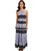 Tbags Los Angeles - Hi-Neck Halter Tiered Maxi