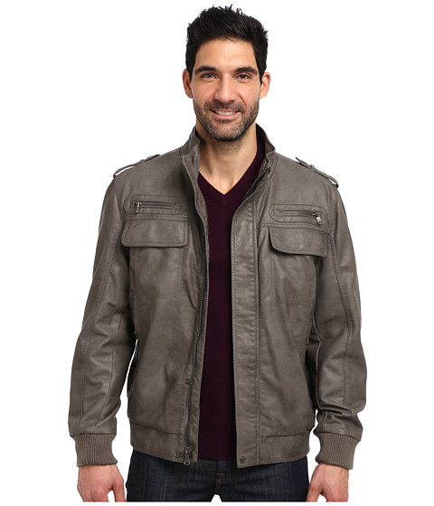 Calvin Klein Faux Leather Bomber Jacket CM499264 - 6pm.com