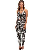 Tbags Los Angeles - Woven Convertible Jumpsuit w/ Black/Gold Neck Piece
