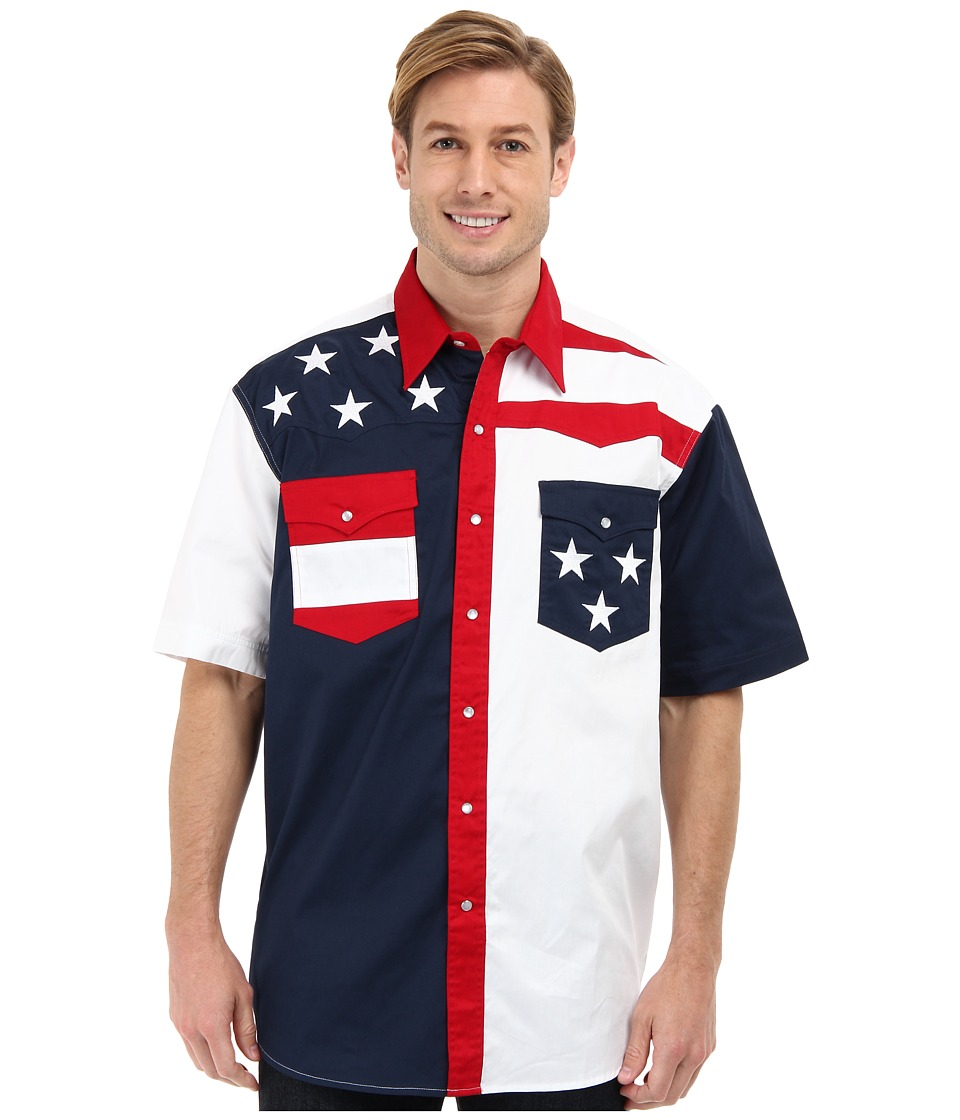 Roper - S/S Pieced Stars and Stripes Patriotic (Blue) Mens Short Sleeve Button Up