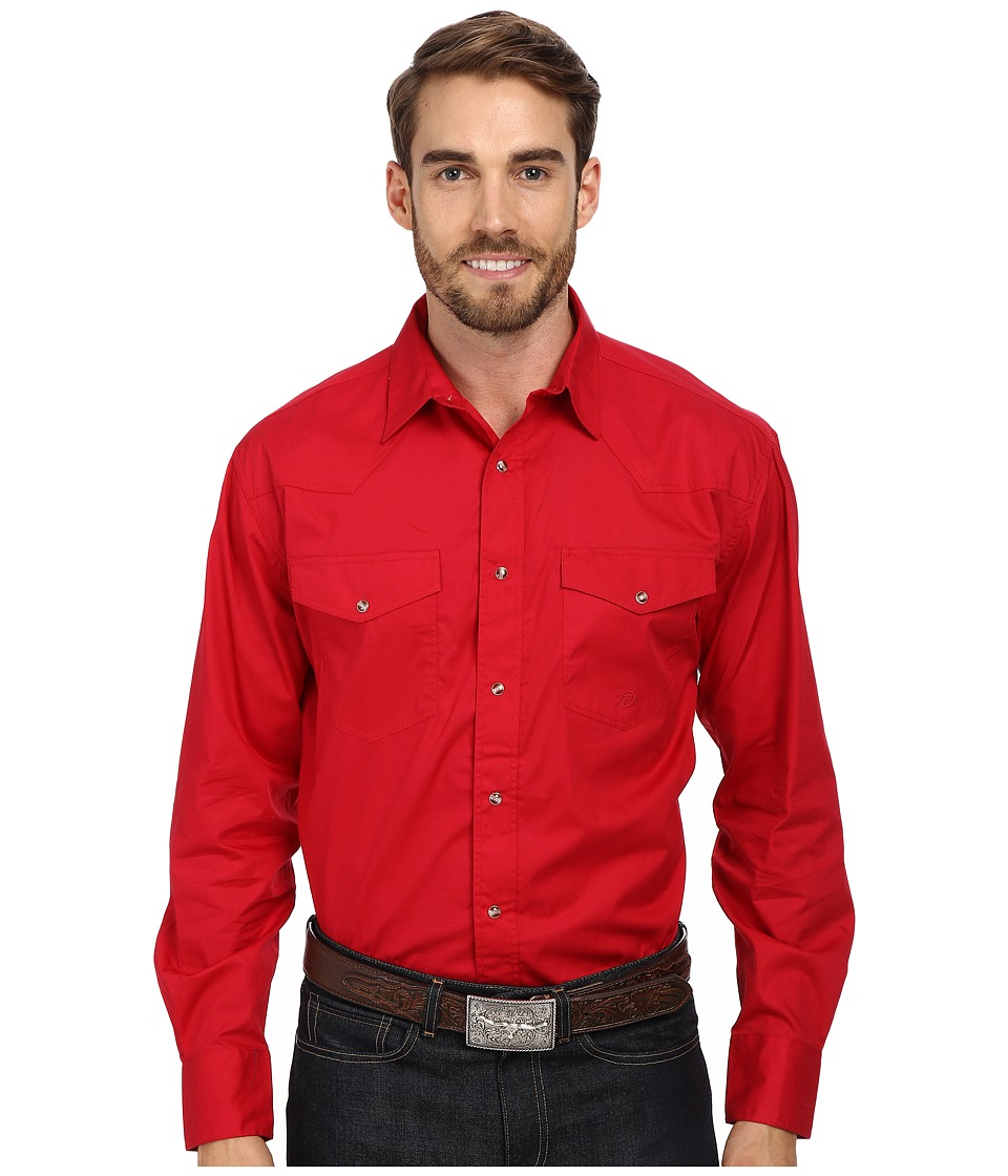 Roper - L/S Solid Basic Snap Front (Red) Mens Long Sleeve Button Up