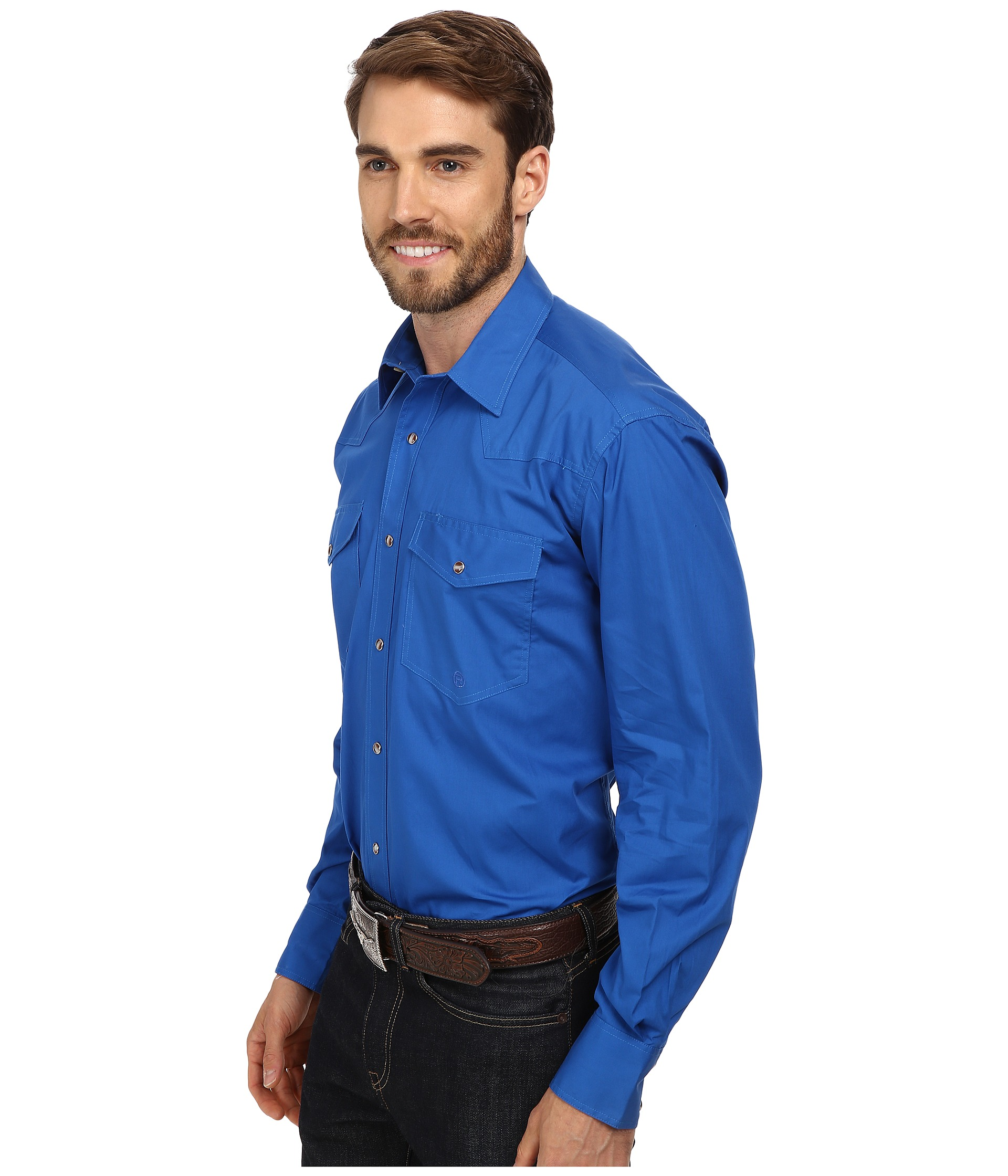 Roper l s solid basic snap front at for Mens shirts with snaps instead of buttons