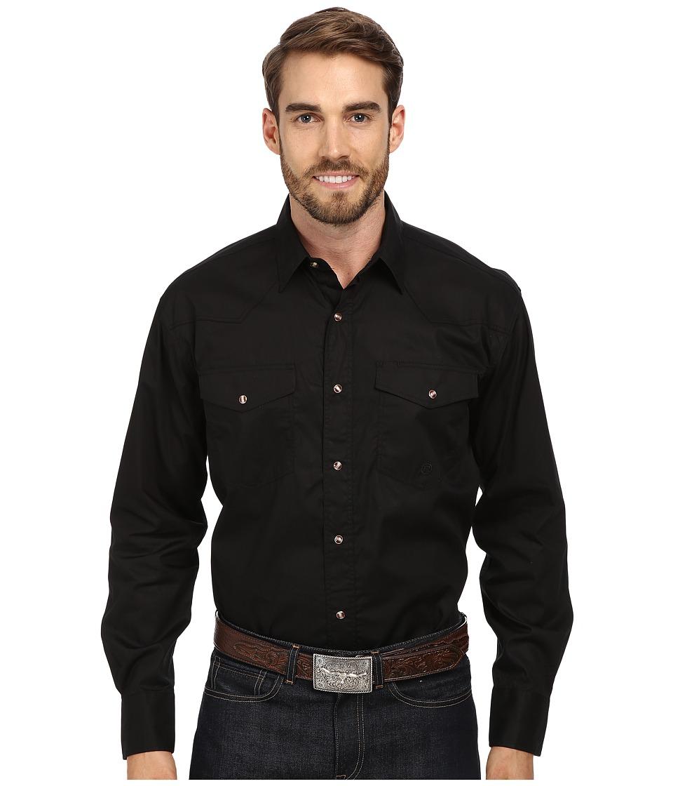Roper L/S Solid Basic Snap Front (Black) Men's Long Sleev...