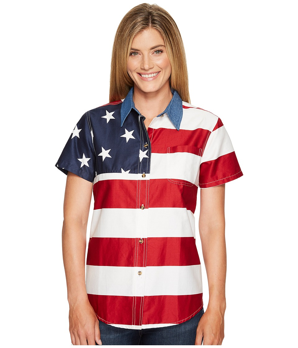 Roper - S/S Stars and Stripes Pieced Flag (Red) Womens Short Sleeve Button Up