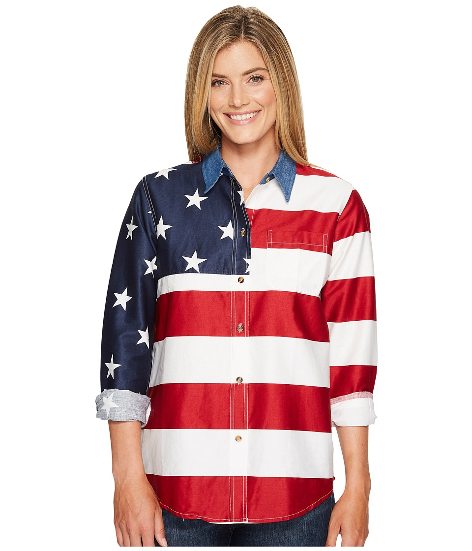 Roper - L/S Stars and Stripes Pieced Flag (Red 2) Womens Long Sleeve Button Up