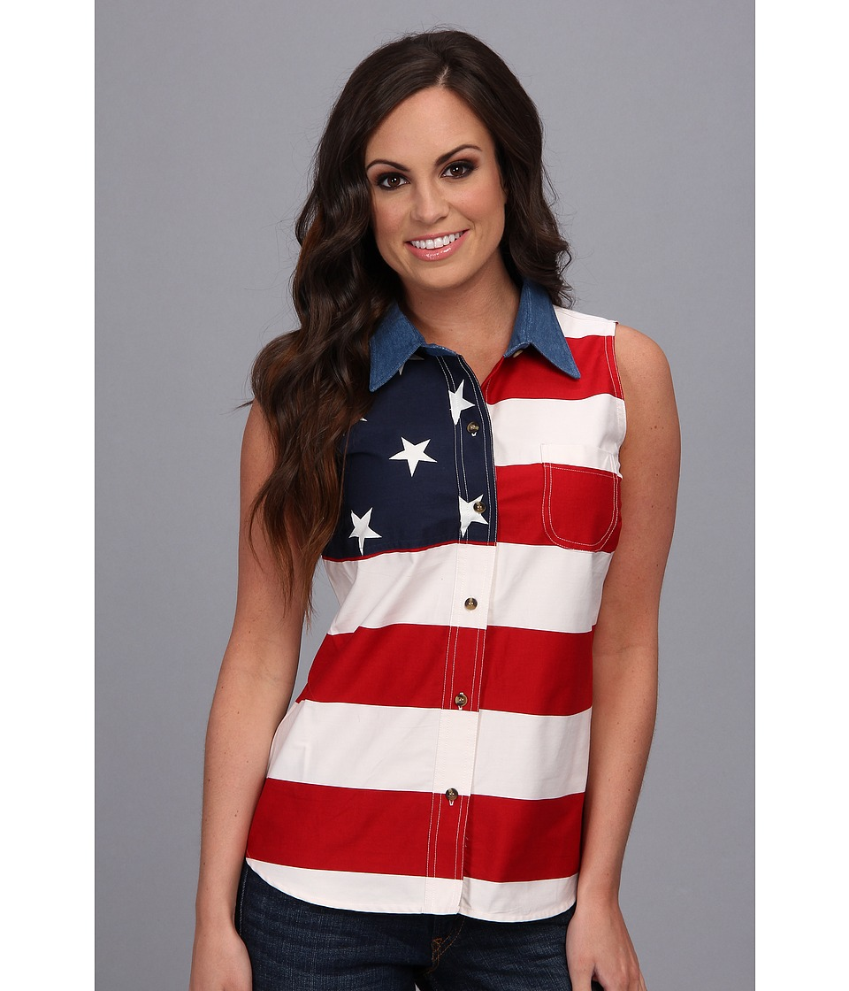 Roper - S/L Stars and Stripes Pieced Flag (Red 3) Womens Sleeveless