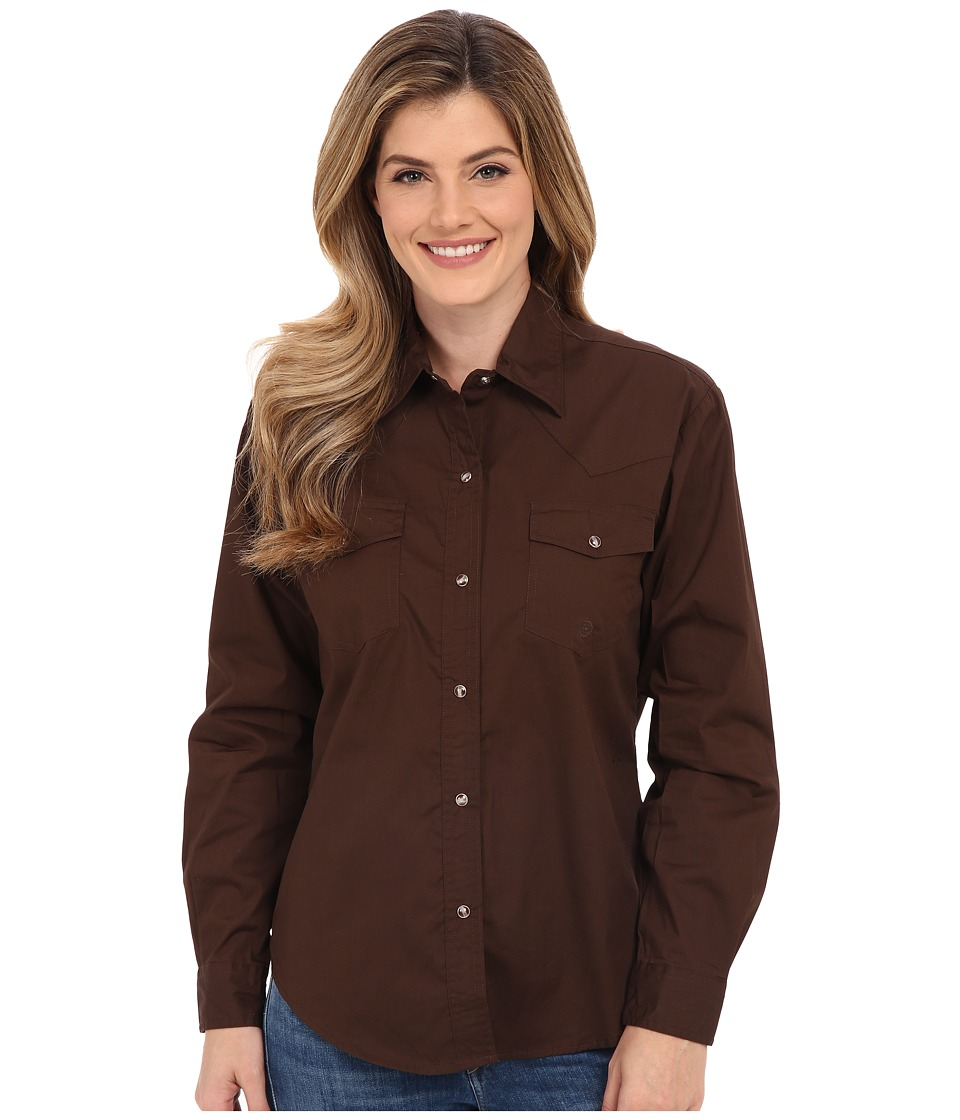 Roper - L/S Solid Basic Snap Front (Brown) Womens Long Sleeve Button Up