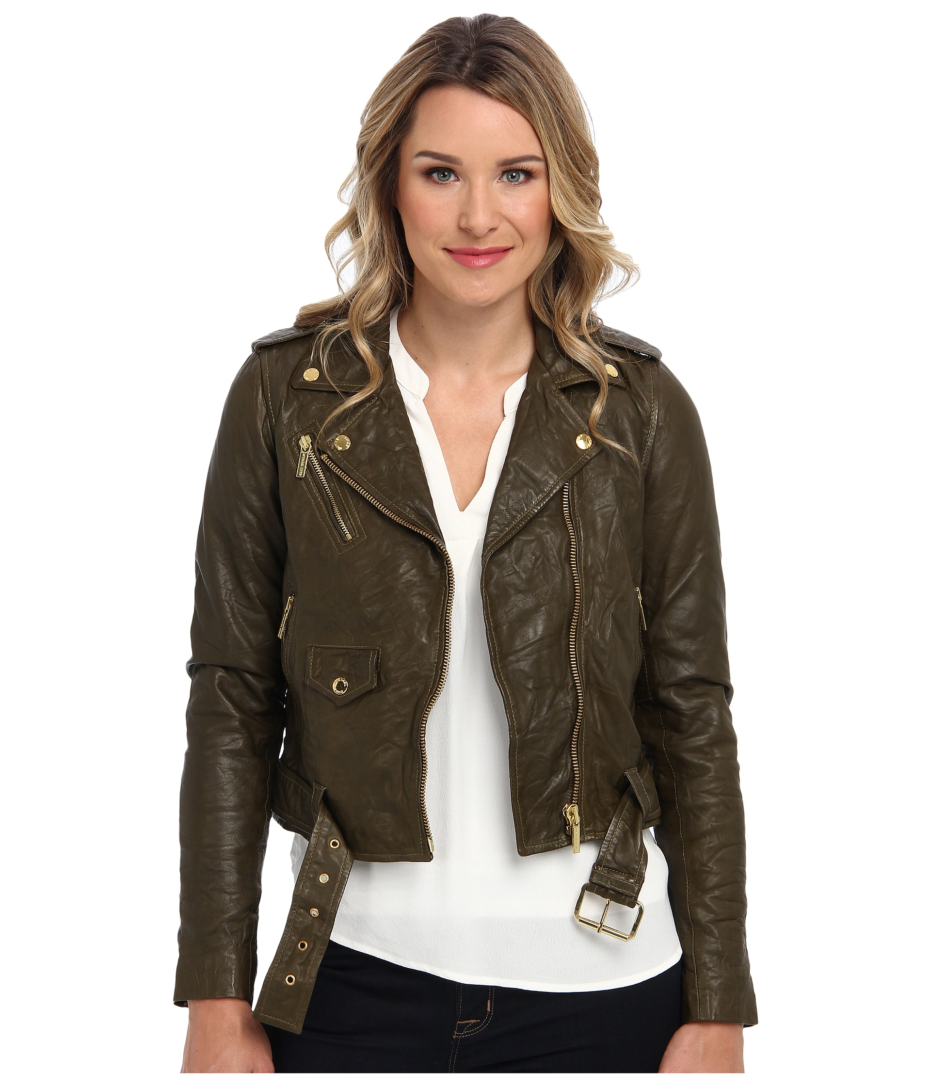 Michael Kors Cropped Leather Moto Jacket · Michael Kors Cropped Leather Moto Jacket