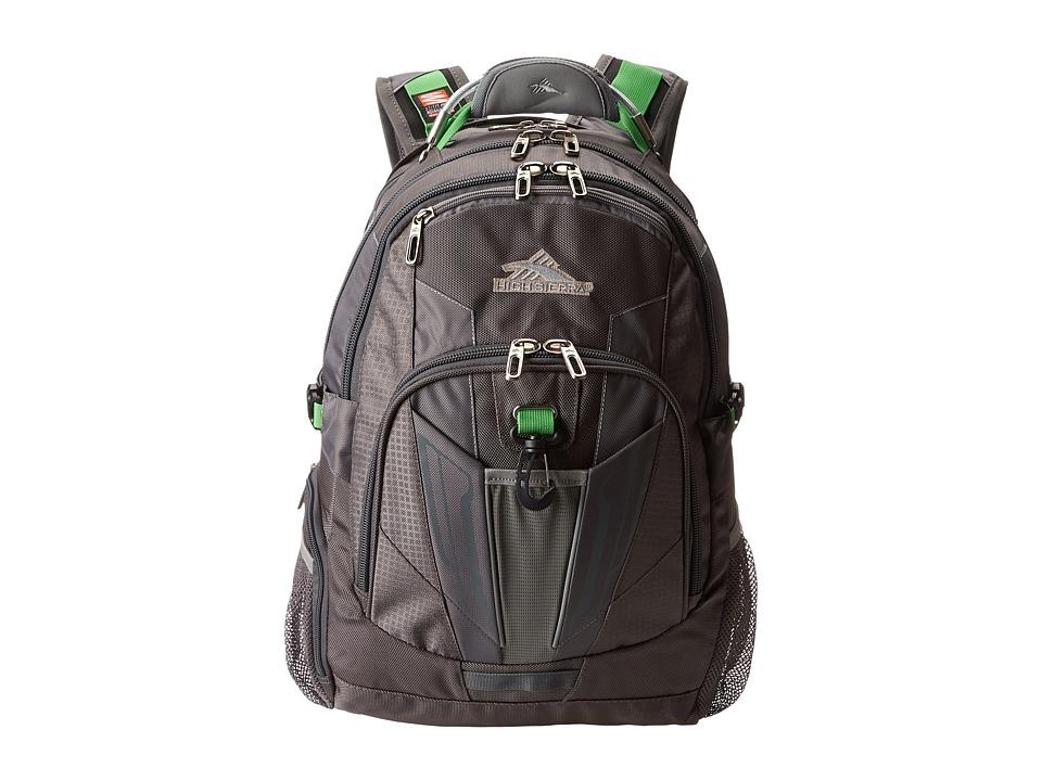 High Sierra XBT TSA Backpack Charcoal/Silver/Kelly Backpack Bags