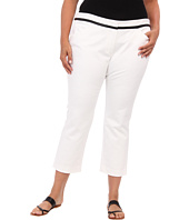 DKNYC - Plus Size Polished Stretch Twi Straight Pant w/ Faux Leather Trim