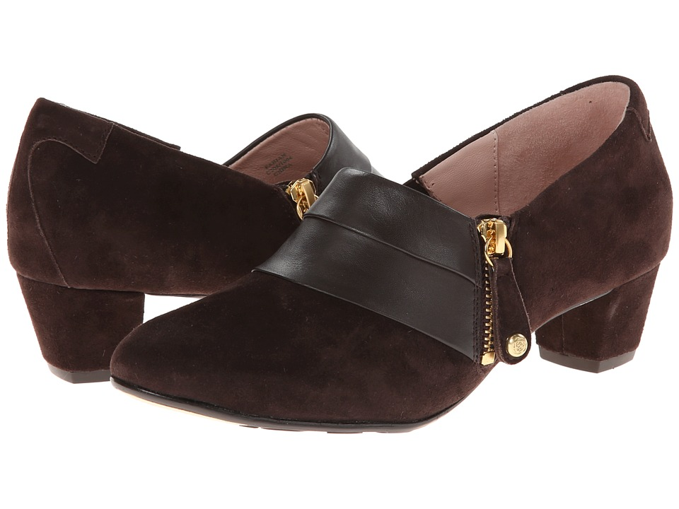 Shop Taryn Rose online and buy Taryn Rose Fabian Chocolate KG High Heels - The Fabian by Taryn Rose embodies luxury at its finest!Smooth suede upper with genuine leather trim.Side zip closure.Lightly padded leather insole for supreme comfort.Combination leather and rubber sole.Handmade in Italy. Measurements:Heel Height: 1 3 4 inWeight: 9 ozProduct measurements were taken using size 5.5, width M. Please note that measurements may vary by size.