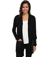 Karen Kane - Faux Leather Pocket Cardigan