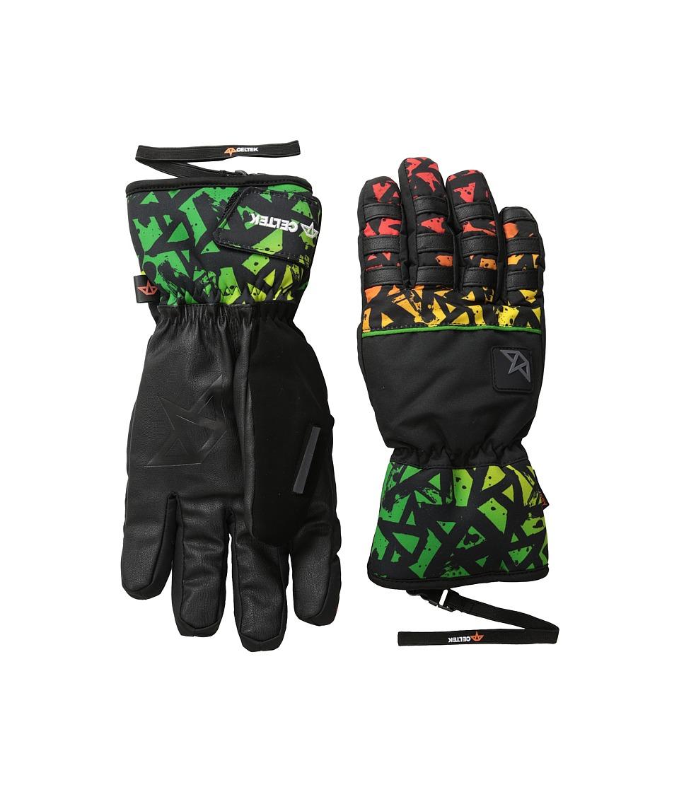 Celtek Ace Gloves Rasta Graffiti Snowboard Gloves