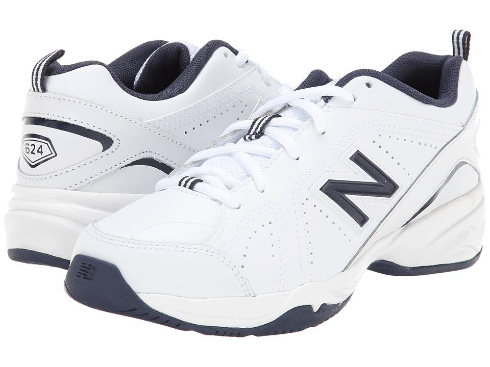 New Balance Kids - KX624 (Little Kid/Big Kid) (White/Navy) Kids Shoes