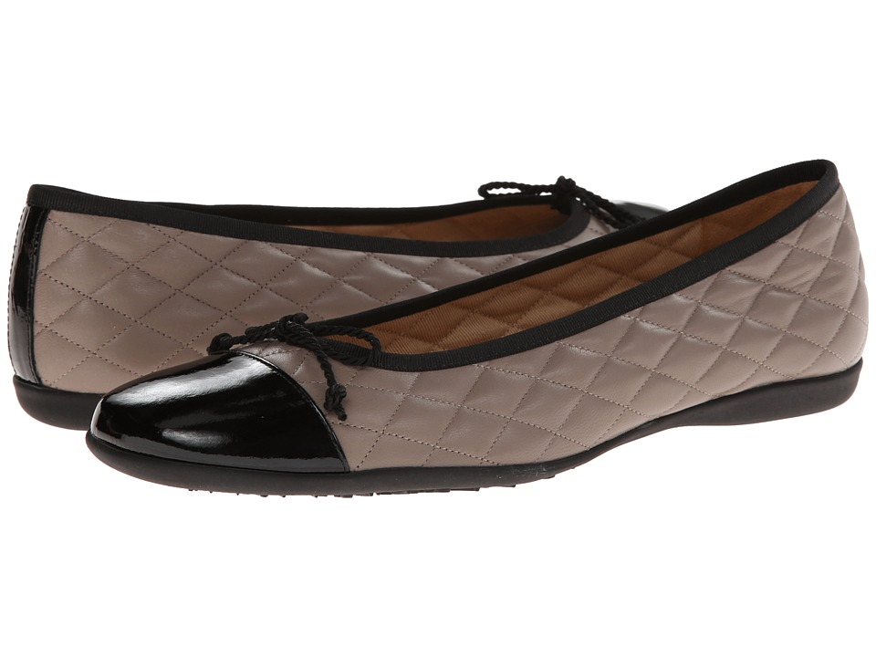 French Sole PassportR (Black Patent w/ Grey Calf) Women's Dress Flat Shoes