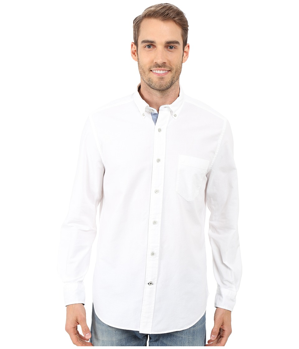 Nautica Solid Oxford L/S Woven Shirt Bright White Mens Long Sleeve Button Up