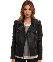 Vince Camuto - Leather Moto Jacket with Quilted Patches – G1881