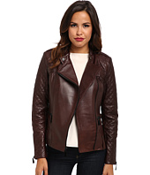 Vince Camuto - Leather Moto Jacket with Quilted Sleeves – G8941