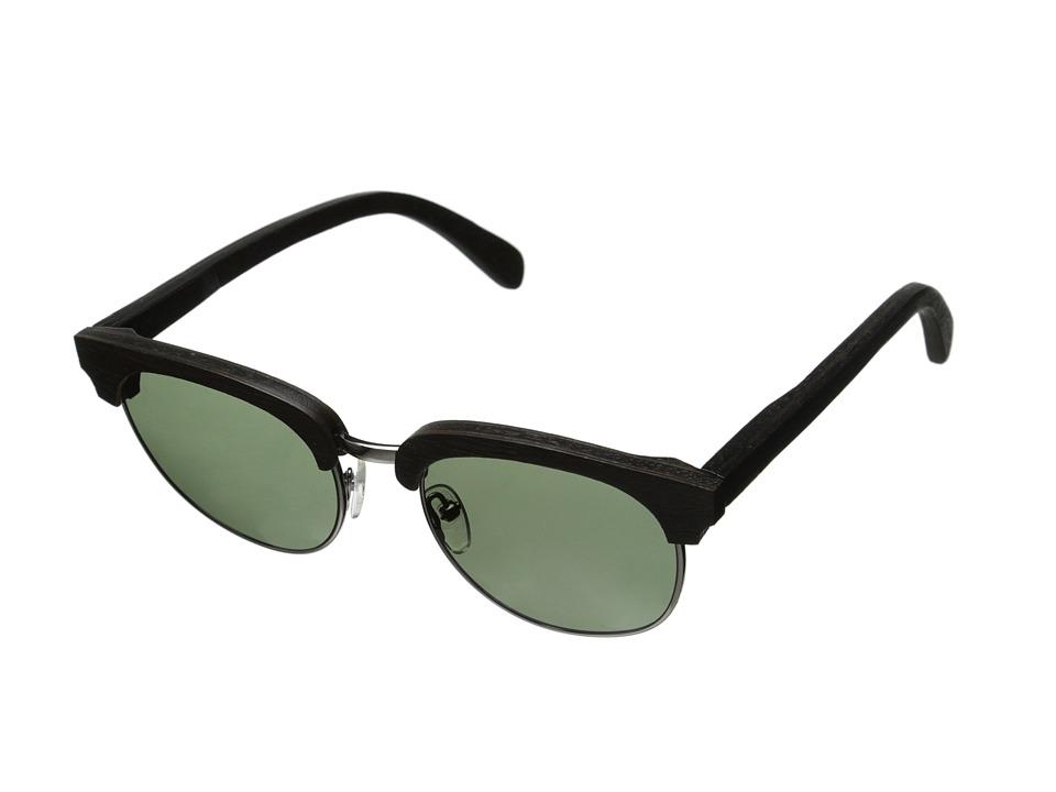 Shwood Eugene Polarized Dark Walnut Silver G15 Polarized Sport Sunglasses