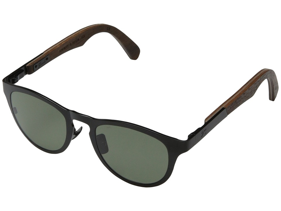 Shwood Francis Polarized Black Titanium// Walnut G15 Polarized Sport Sunglasses