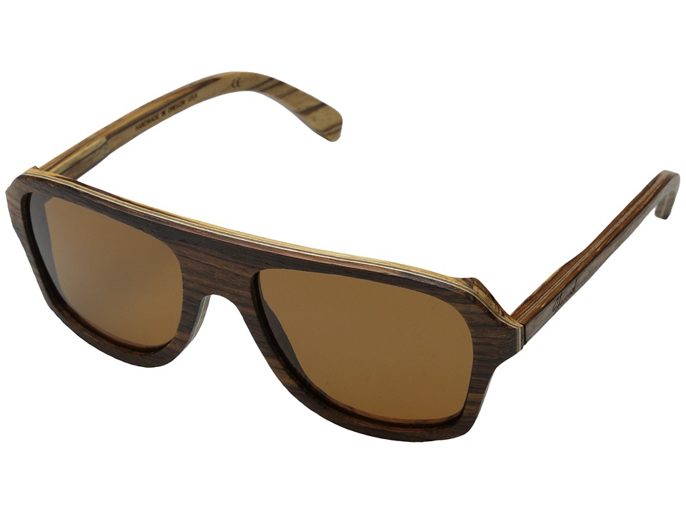 Shwood Ashland Polarized Zebrawood Brown Polarized Sport Sunglasses
