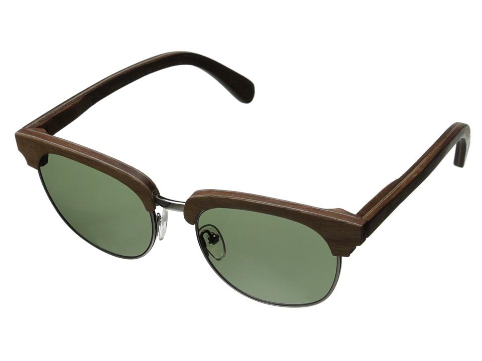 Shwood Eugene Polarized Walnut Silver G15 Polarized Sport Sunglasses