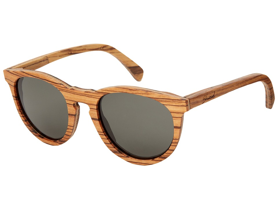 Shwood Belmont Polarized Zebrawood Grey Polarized Sport Sunglasses