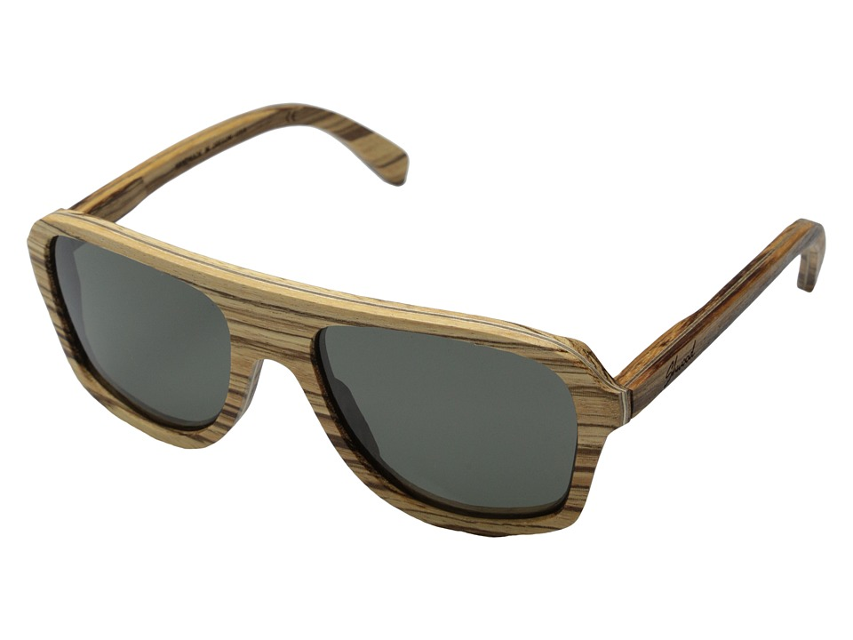 Shwood Ashland Polarized Zebrawood Grey Polarized Sport Sunglasses