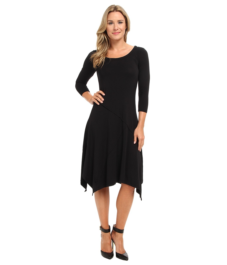 Mod-o-doc - Cotton Modal Seamed Scoopneck Dress Black Womens Dress $88.00 AT vintagedancer.com