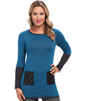 Mod-o-doc - Scoopneck Pullover Tunic w/ Faux Leather Trim
