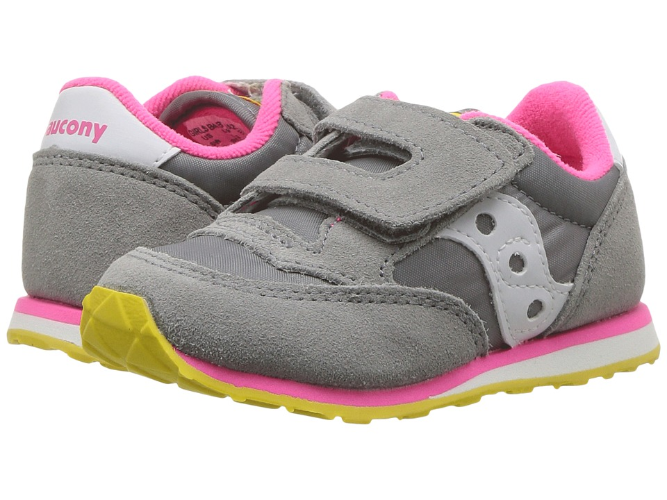 Saucony Kids Baby Jazz HL Toddler/Little Kid Grey/Pink Girls Shoes