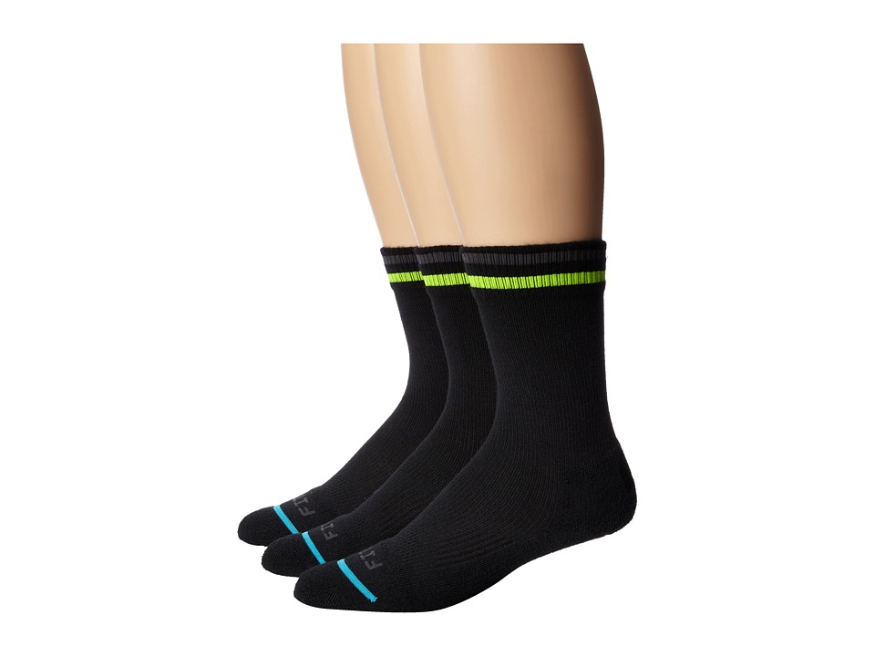 Fits Light Active Tech Crew 3 Pack Throwback Black Crew Cut Socks Shoes