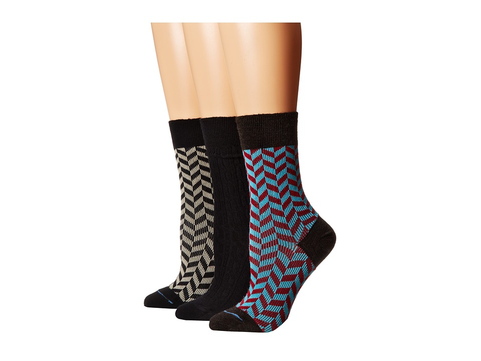 Fits Center City 3 Pack Geo Black/Geo Chestnut/Cable Black Womens Crew Cut Socks Shoes