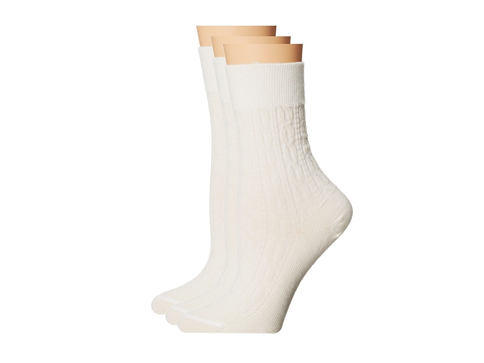 Fits Center City 3 Pack Cable Natural Womens Crew Cut Socks Shoes