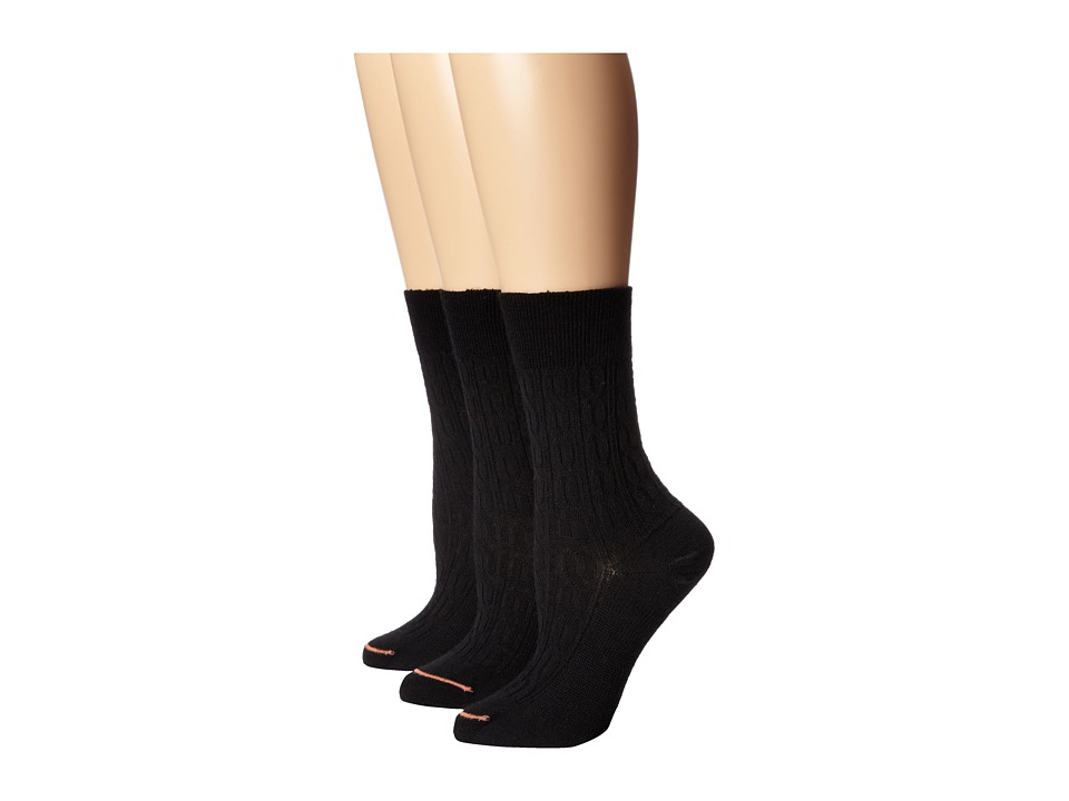 Fits Center City 3 Pack Cable Black Womens Crew Cut Socks Shoes