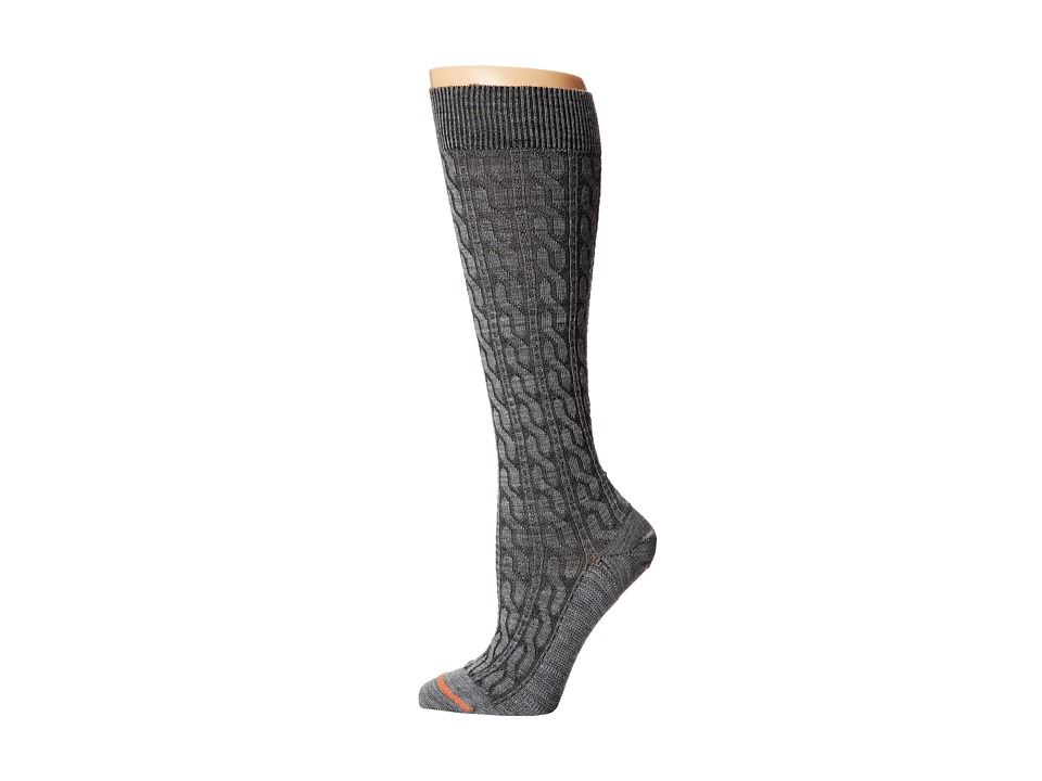 Fits Center City Knee High Cable Heather Grey Womens Knee High Socks Shoes