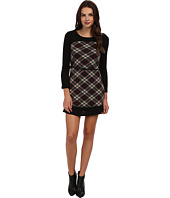 Yumi - Contrast Raglan Sleeve Check Dress With Belt Detail