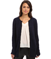 Yumi - Zip-Front Cardigan With PU Detailing