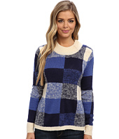 Yumi - Oversized Check Jumper With Button Neck Detailing