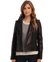 DKNY - Zip Front Moto Jacket w/ Sweatshirt Detail 18096-Y4