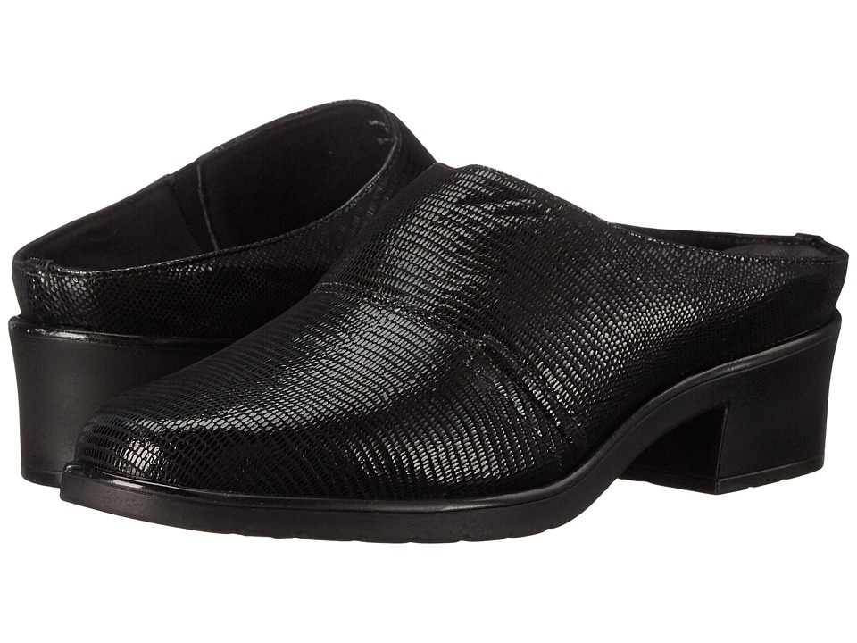 Walking Cradles Caden New Black Lizard Patent Print Womens Clog Shoes