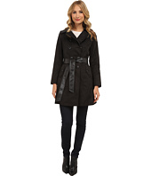 DKNY - Double Breasted Belted Trench Coat w/ Faux Leather Trim 06200-Y4