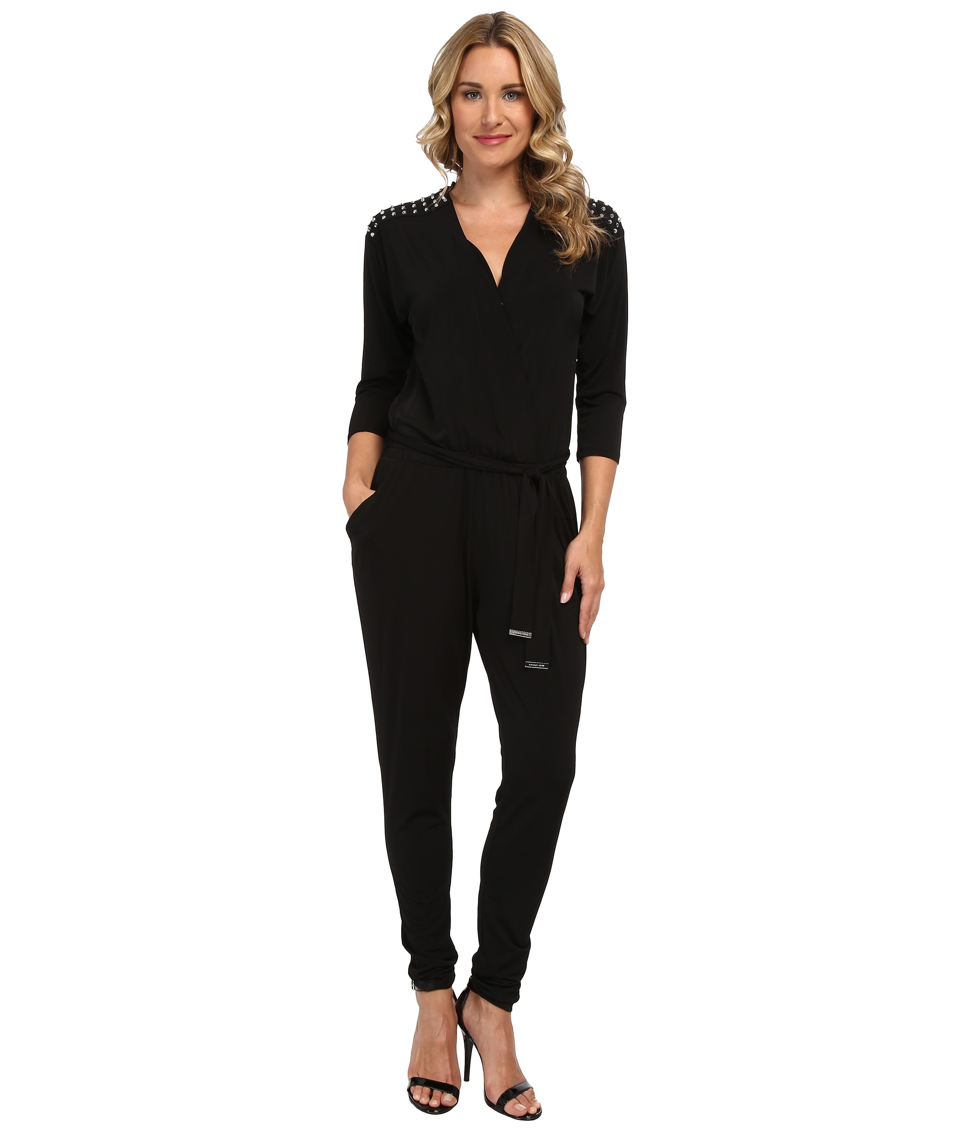 michael michael kors 3 4 sleeve stud jumpsuit shipped free at zappos. Black Bedroom Furniture Sets. Home Design Ideas
