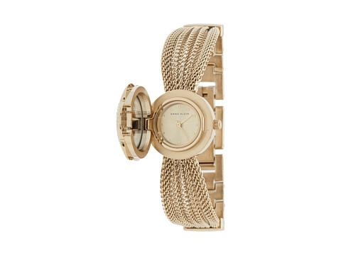 Anne Klein AK-1046CHCV Swarovski Crystal Accented Gold-Tone Covered Dial Mesh Bracelet Watch - Gold