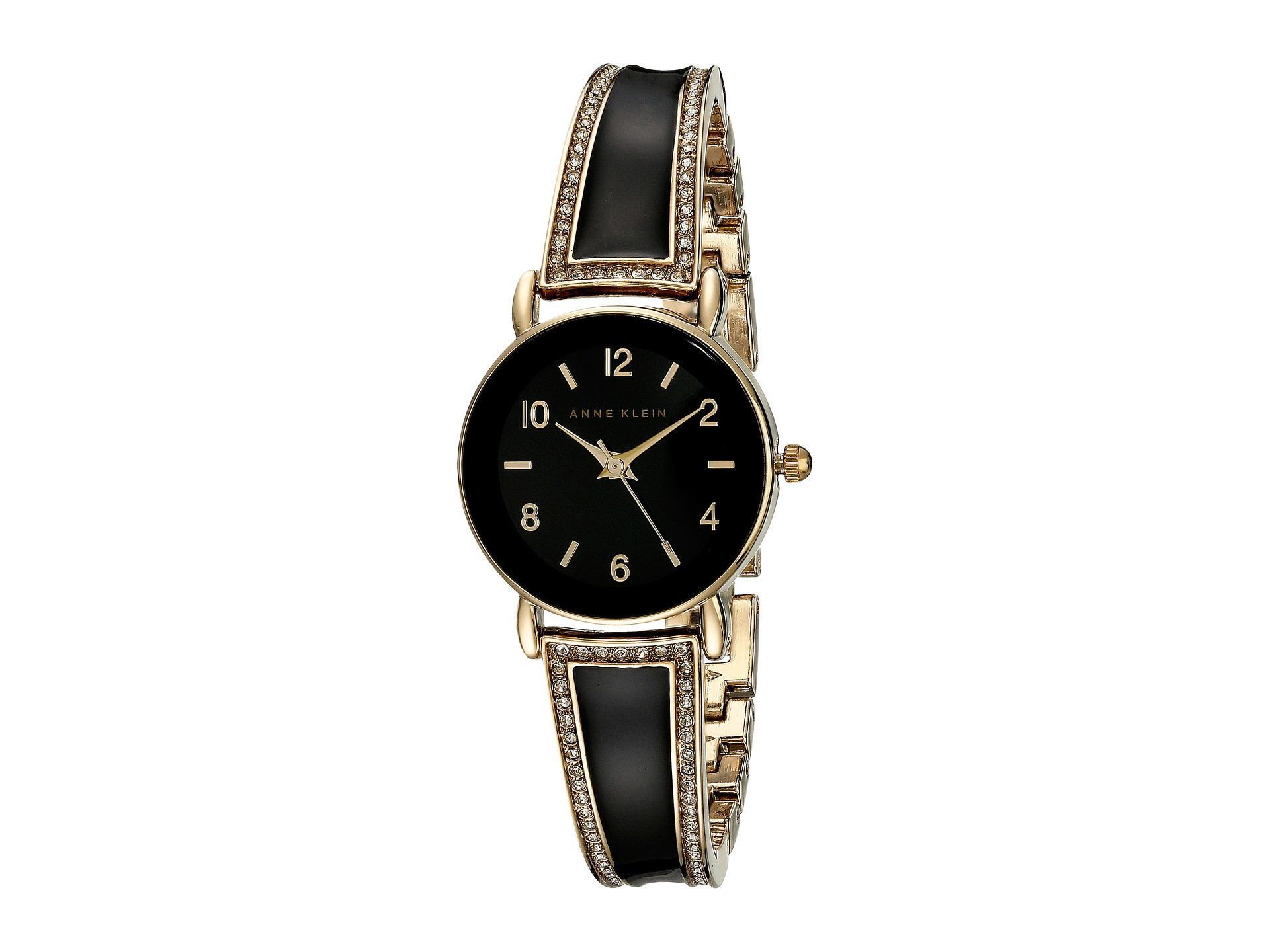 Anne klein ak 1028bkgb swarovski crystal accented black and gold tone bangle watch for Anne klein gold watch