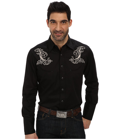Black Baroque Embroidery Shirt by Roper